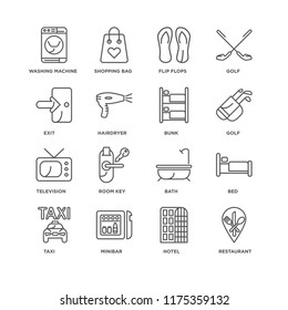 Set Of 16 simple line icons such as Restaurant, Hotel, Minibar, Taxi, Bed, Washing machine, Exit, Television, Bunk, editable stroke icon pack, pixel perfect