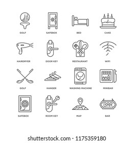 Set Of 16 simple line icons such as Bar, Map, Room key, Safebox, Minibar, Golf, Hairdryer, Restaurant, editable stroke icon pack, pixel perfect