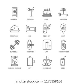 Set Of 16 simple line icons such as Soda, Coffee cup, Lift, Washing machine, Door hanger, Safebox, Reception, Dumbbell, Room key, editable stroke icon pack, pixel perfect