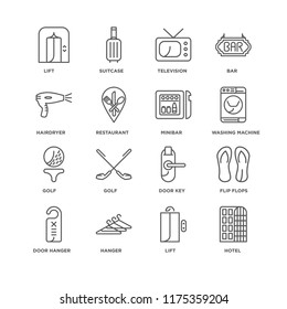 Set Of 16 simple line icons such as Hotel, Lift, Hanger, Door hanger, Flip flops, Hairdryer, Golf, Minibar, editable stroke icon pack, pixel perfect