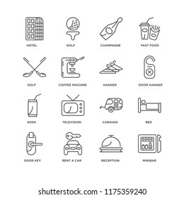 Set Of 16 simple line icons such as Minibar, Reception, Rent a car, Door key, Bed, Hotel, Golf, Soda, Hanger, editable stroke icon pack, pixel perfect