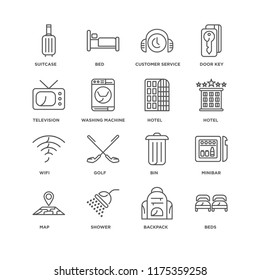Set Of 16 simple line icons such as Beds, Backpack, Shower, Map, Minibar, Suitcase, Television, Wifi, Hotel, editable stroke icon pack, pixel perfect