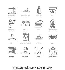 Set Of 16 simple line icons such as Room service, Golf, Location, Minibar, Bus, Television, key, Map, Hose, editable stroke icon pack, pixel perfect