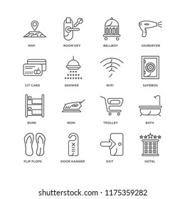 Set Of 16 simple line icons such as Hotel, Exit, Door hanger, Flip flops, Bath, Map, Cit card, Bunk, Wifi, editable stroke icon pack, pixel perfect