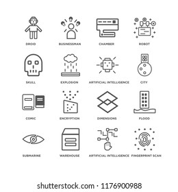 Set Of 16 simple line icons such as Fingerprint scan, Artificial intelligence, Warehouse, Submarine, Flood, Droid, Skull, Comic, editable stroke icon pack, pixel perfect