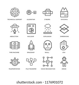 Set Of 16 simple line icons such as Droid, Voice recognition, File transfer, Teleportation, Cpu, Technical Support, Abduction, Time machine, Explosion, editable stroke icon pack, pixel perfect