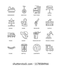 Set Of 16 simple line icons such as Train, Labyrinth, Bottle, Flags, Whack a mole, Hidrodrom, Swing, Revolver, editable stroke icon pack, pixel perfect