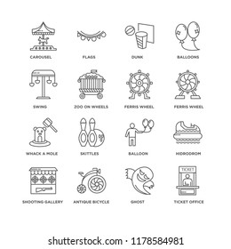 Set Of 16 simple line icons such as Ticket Office, Ghost, Antique Bicycle, Shooting Gallery, Hidrodrom, Carousel, Swing, Whack a mole, Ferris wheel, editable stroke icon pack, pixel perfect
