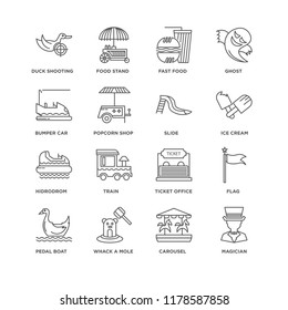 Set Of 16 simple line icons such as Magician, Carousel, Whack a mole, Pedal boat, Flag, Duck Shooting, Bumper car, Hidrodrom, Slide, editable stroke icon pack, pixel perfect
