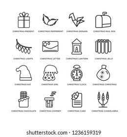 Set Of 16 simple line icons such as christmas candelabra, Christmas card, Chimney, chocolate, Lights, editable stroke icon pack, pixel perfect