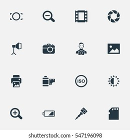 Set Of 16 Simple Photographer Icons. Can Be Found Such Elements As Rustication, Brilliance, Inkjet And Other.