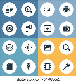 Set Of 16 Simple Photographer Icons. Can Be Found Such Elements As Movable Camcorder, Apparatus Photographer, Registration And Other.