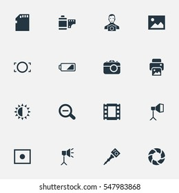 Set Of 16 Simple Photographic Icons. Can Be Found Such Elements As Photograph, Registration, Luminous Origin And Other.