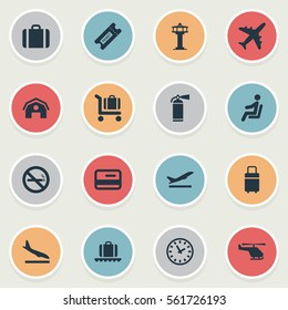 Set Of 16 Simple Plane Icons. Can Be Found Such Elements As Handbag, Seat, Garage.