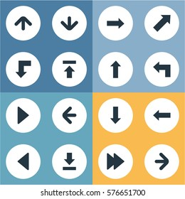 Set Of 16 Simple Pointer Icons. Can Be Found Such Elements As Right Landmark, Transfer, Upward Direction.