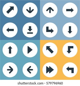 Set Of 16 Simple Pointer Icons. Can Be Found Such Elements As Pointer, Right Direction, Left Direction And Other.