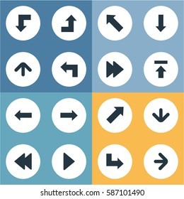 Set Of 16 Simple Pointer Icons. Can Be Found Such Elements As Upward Direction, Right Direction, Pointer And Other.