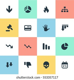 Set Of 16 Simple Situation Icons. Can Be Found Such Elements As Net, Line Chart, Finger Below And Other.