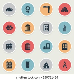 Set Of 16 Simple Structure Icons. Can Be Found Such Elements As Residential, School, Gate And Other.