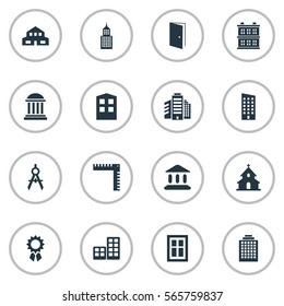 Set Of 16 Simple Structure Icons. Can Be Found Such Elements As Engineer Tool, Structure, Offices And Other.