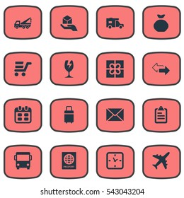 Set Of 16 Simple Surrender Icons. Can Be Found Such Elements As Packaging, Pushcart, Trip Luggage And Other.