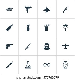 Set Of 16 Simple Terror Icons. Can Be Found Such Elements As Watch, Heavy Weapon, Firearm And Other.