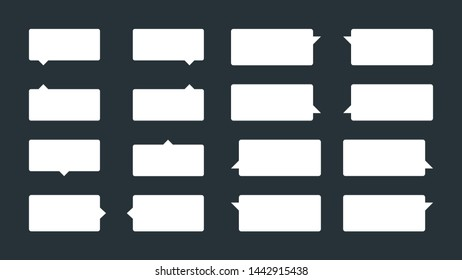 Set of 16 simple tooltips or speech balloons. Flat vector speech bubbles, dialogue balloons or word balloons. Can be used in comics and as tips or notifications on sites.
