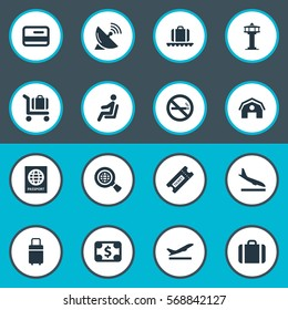 Set Of 16 Simple Travel Icons. Can Be Found Such Elements As Handbag, Currency , Global Research.