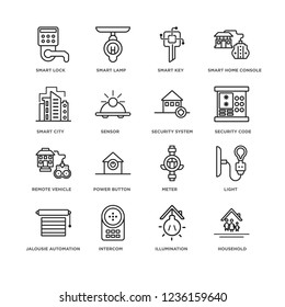 Set Of 16 Smarthome linear icons such as Household, Illumination, Smart lock, Jalousie automation, Light, Meter, Power button, smart Lamp, editable stroke icon pack, pixel perfect