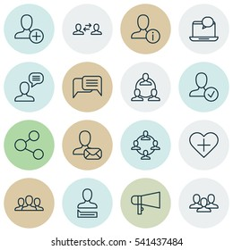 Set Of 16 Social Network Icons. Includes Teamwork, Business Exchange, Team Organisation And Other Info Sharing Network Icons Symbols. Beautiful Design Elements.