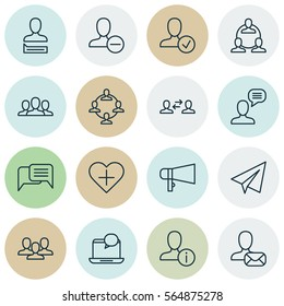Set Of 16 Social Network Icons. Includes Teamwork, Startup, Team Organisation And Other Social Network Icons Symbols. Beautiful New Online Account Design Elements.