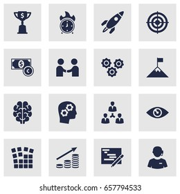 Set Of 16 Startup Icons Set.Collection Of Currency, Gear, Unity And Other Elements.