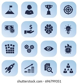 Set Of 16 Startup Icons Set.Collection Of Unity, Vision, Rocket And Other Elements.