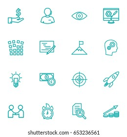 Set Of 16 Startup Outline Icons Set.Collection Of Partnership, Currency, Research And Other Elements.
