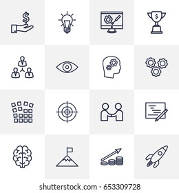 Set Of 16 Startup Outline Icons Set.Collection Of Planning, Money Saving, Teamwork And Other Elements.