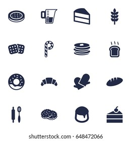 Set Of 16 Stove Icons Set.Collection Of Cake, Custard, Loaf And Other Elements.