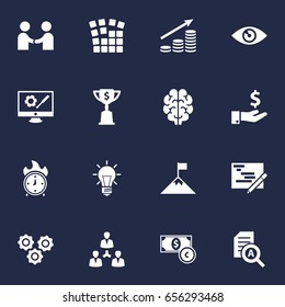 Set Of 16 Strategy Icons Set.Collection Of Bulb, Unity, Achievement And Other Elements.