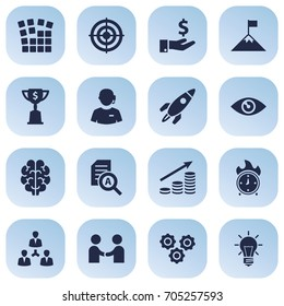 Set Of 16 Strategy Icons Set.Collection Of Achievement, Money Growth, Startup Building And Other Elements.