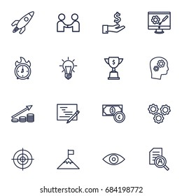 Set Of 16 Strategy Outline Icons Set.Collection Of Idea, Success, Planning And Other Elements.