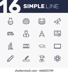 Set Of 16 Studies Outline Icons Set.Collection Of Compass, Bus, Test Tube And Other Elements.
