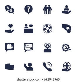 Set Of 16 Support Icons Set.Collection Of Care;, Gear, Reception And Other Elements.