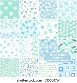 Set of 16 sweet mint green seamless patterns. Collection of vector backgrounds with abstract elements. Ideal for baby shower, mother's day, valentine's day, invitations, wedding design.