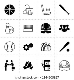 Set of 16 team filled and outline icons such as businessman handshake, gear, handshake, skycrapers cleaning, group, baseball, basketball, baseball bat, football plan