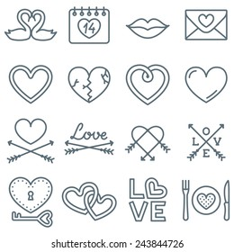 Set of 16 Thin Line Icons for Valentine's Day