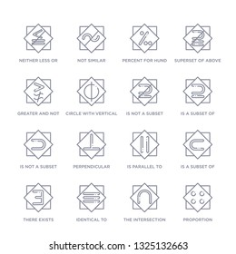 set of 16 thin linear icons such as proportion, the intersection of, identical to, there exists, is a subset of, is parallel to, perpendicular from signs collection on white background, outline sign