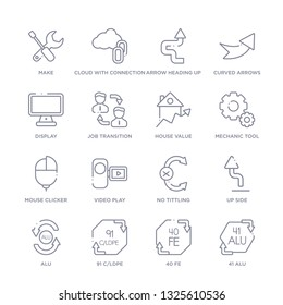 set of 16 thin linear icons such as 41 alu, 40 fe, 91 c/ldpe, alu, up side, no tittling, video play from user interface collection on white background, outline sign icons or symbols