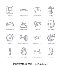 set of 16 thin linear icons such as tunnel, hydraulic jack, air filter, damper, brake disc, exhaust pipe, wheel alignment from transportation collection on white background, outline sign icons or