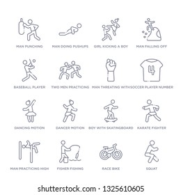 set of 16 thin linear icons such as squat, race bike, fisher fishing, man practicing high jump, karate fighter, boy with skatingboard, dancer motion from sports collection on white background,