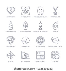 set of 16 thin linear icons such as circles, four squares, multiple line, elliptic, speech bubble with ellipsis, blank circle, blank cube from shapes collection on white background, outline sign