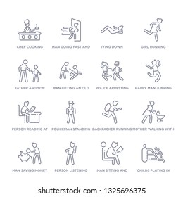 set of 16 thin linear icons such as childs playing in playgrpound, man sitting and reading book, person listening, man saving money, mother walking with baby stroller, backpacker running, policeman